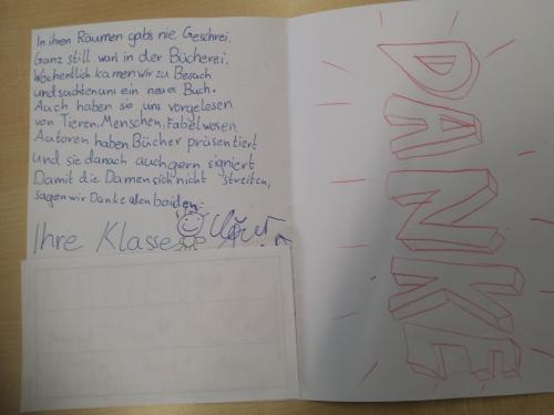 DANKE Brief von P5 Schülern